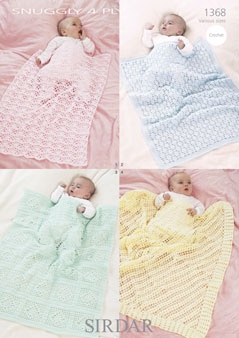 Sirdar Snuggly 4 Ply Baby Blanket Pattern 1368