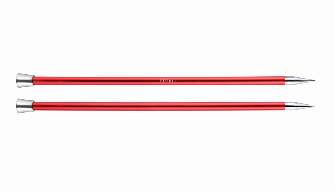 KnitPro Single Point Knitting Needles - Zing - 30cm - 9 mm Garnet