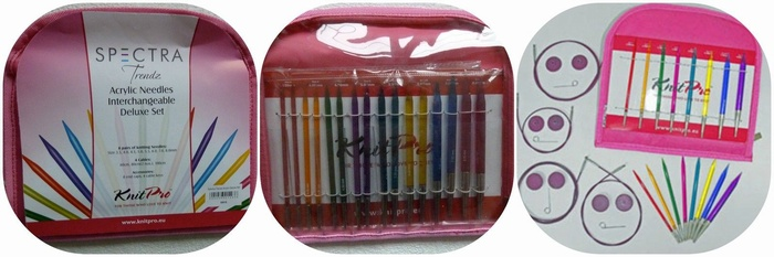 KnitPro Spectra Trendz Arylic Needles Interchangeable Deluxe Knitting Needle Set.