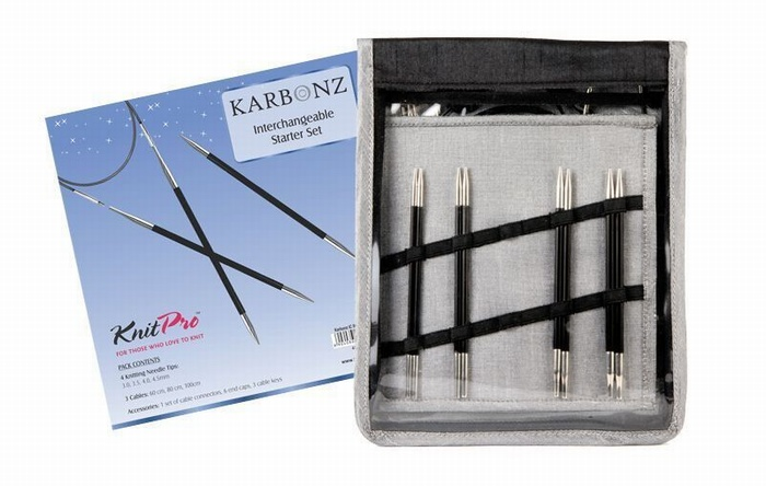 KnitPro Karbonz Interchangeable Starter Knitting Needle Set
