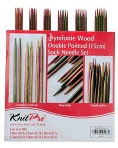 KnitPro Symfonie Wood Double Pointed Sock Knitting Needle Set 15cm
