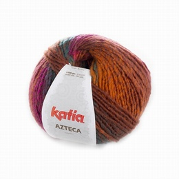 Katia Azteca Yarn 7865 Orange-Bottle green-Rose-Brown