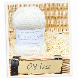 West Yorkshire Spinners Illustrious DK Cabled Hat and Mitts Kit Old Lace 010