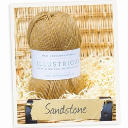 West Yorkshire Spinners Illustrious DK Cabled Hat and Mitts Kit Sandstone 723