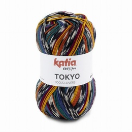 Katia Tokyo Superwash Sock Yarn Shade 84 - Ochre - Red - Green Blue