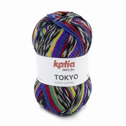 Katia Tokyo Superwash Sock Yarn Shade 85 - Red - Yellow - Green Blue